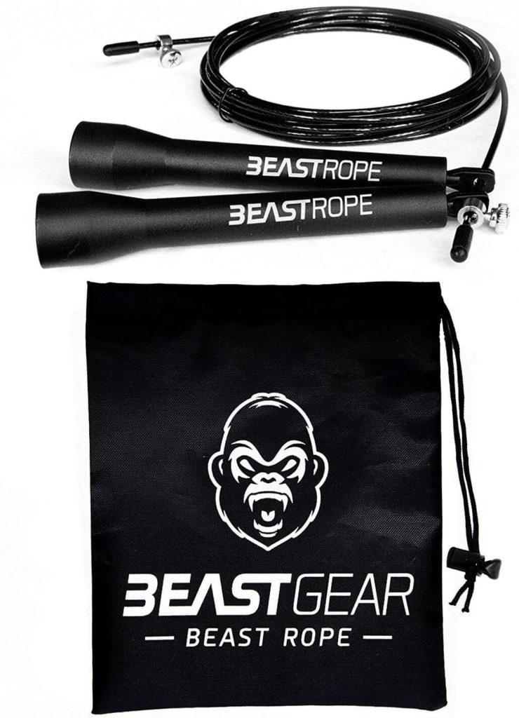 Cuerda para saltar de alta velocidad de Beast Gear. Comba de CrossFit, Boxeo, MMA. Longitud Ajustable y Rodamientos Ligeros, Ideal para Saltos Dobles.