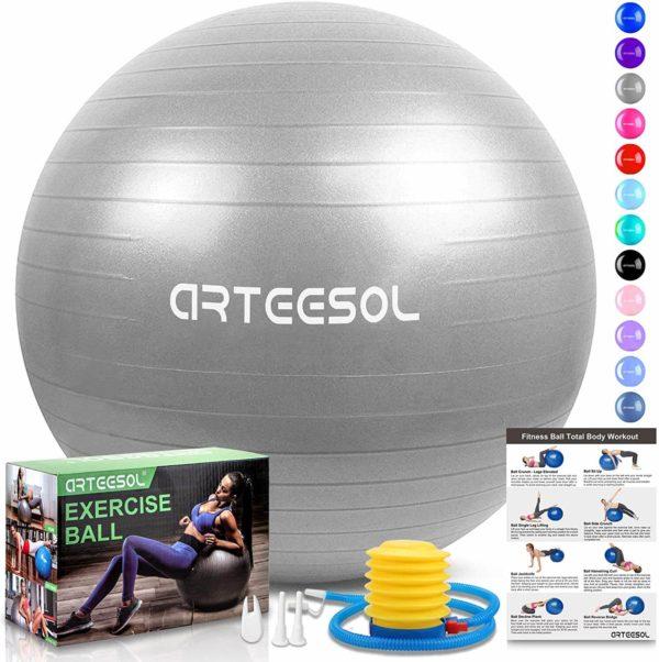 arteesol Balón de Ejercicio Anti-explosión, 45cm 55cm 65cm 75cm Fitness Yoga Ball Estabilizador de balón de Equilibrio Resistente con Bomba rápida para Core Force