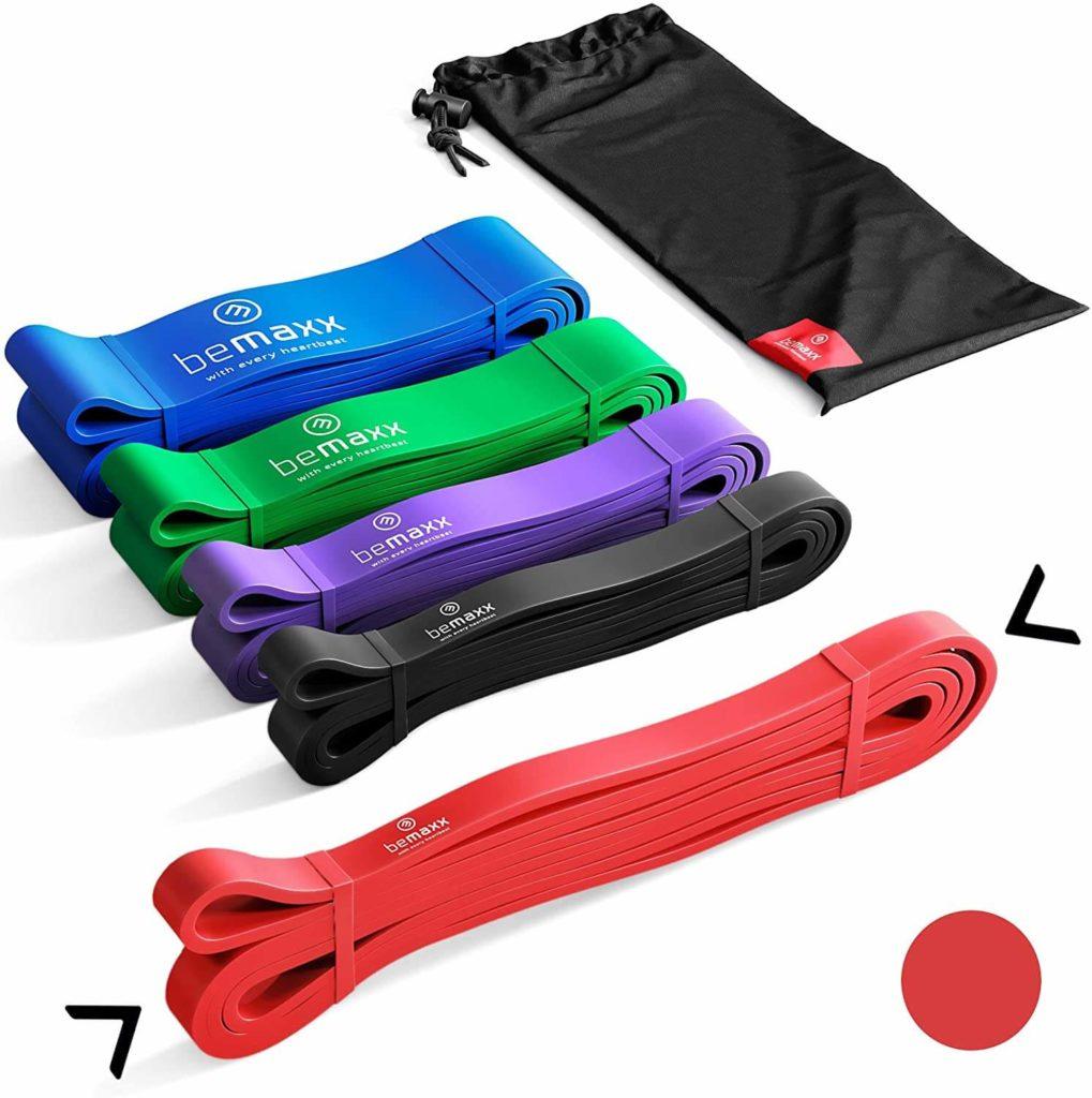 BeMaxx Banda Elástica de Resistencia Guía de Entrenamiento para Pull–Ups, Crossfit, Yoga, Pilates Banda de Tracción para Fitness y Estiramientos Duradera, Resistente, Versátil