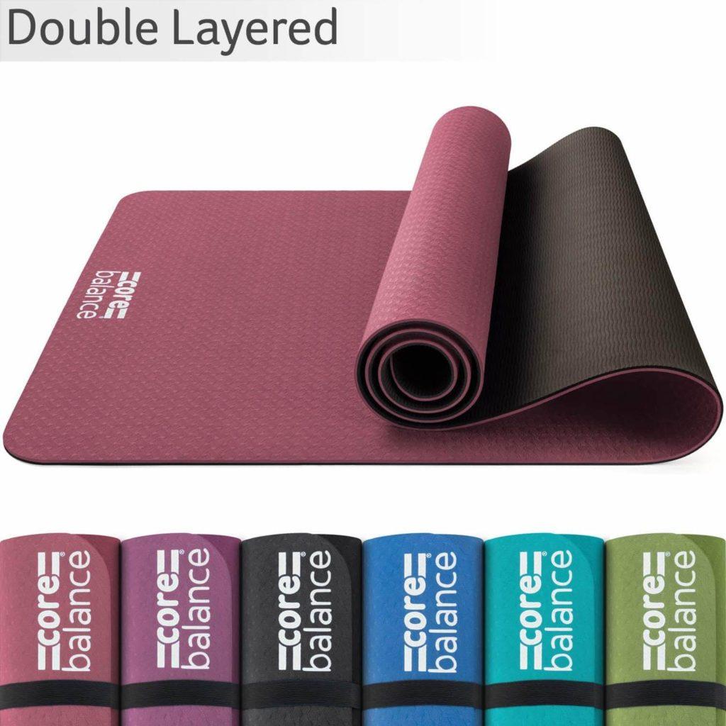 CORE BALANCE Esterilla Antideslizante para Yoga, Pilates, Fitness - Material TPE súper Resistente, Alta Densidad - Alfombrilla 6mm cómoda, Ligera, compacta, con Correas, 183 x 65cm, 6 Colores