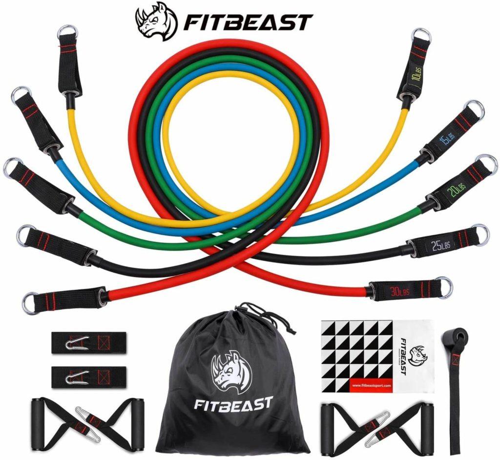 Conjunto de bandas de resistencia FitBeast, hasta 100 lb Bandas de entrenamiento de estiramiento físico con 5 tubos de entrenamiento, 4 manijas de espuma, gimnasio en casa, gimnasio, fisioterapia
