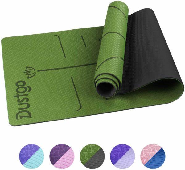 Dustgo Esterilla de Yoga Antideslizante con Material ecológico TPE con líneas corporales Yoga Mat