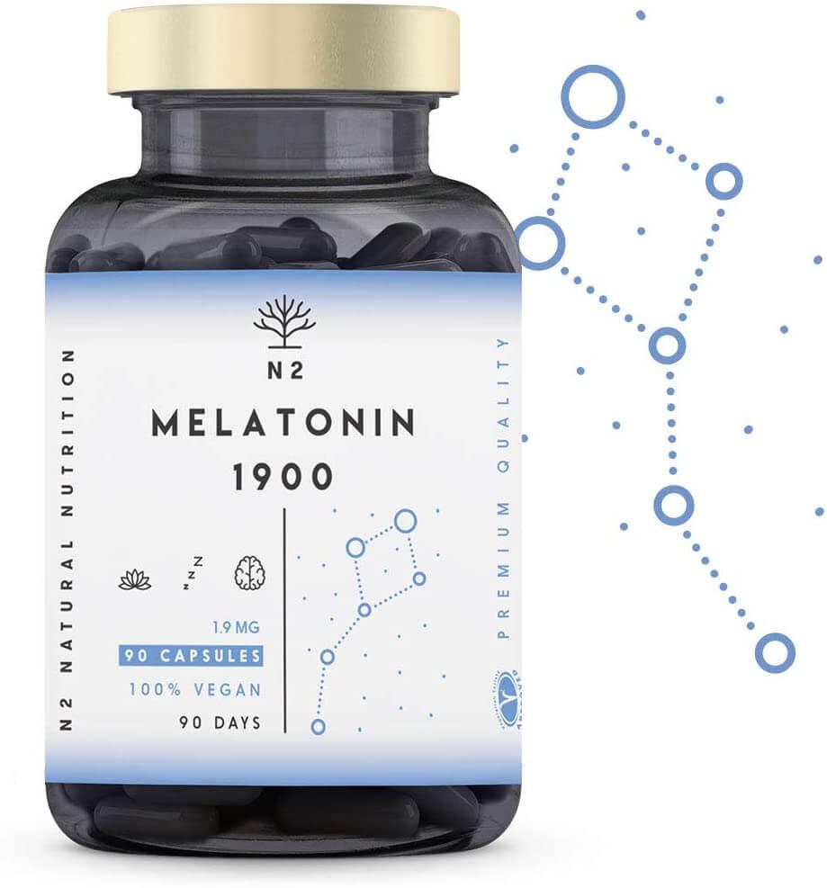 Melatonina Pura 1,9 mg, 5HTP Griffonia, Vitamina B6. Facilita la Conciliación y Mejora Calidad del Sueño. Reduce Estrés, Ansiedad, Insomnio.