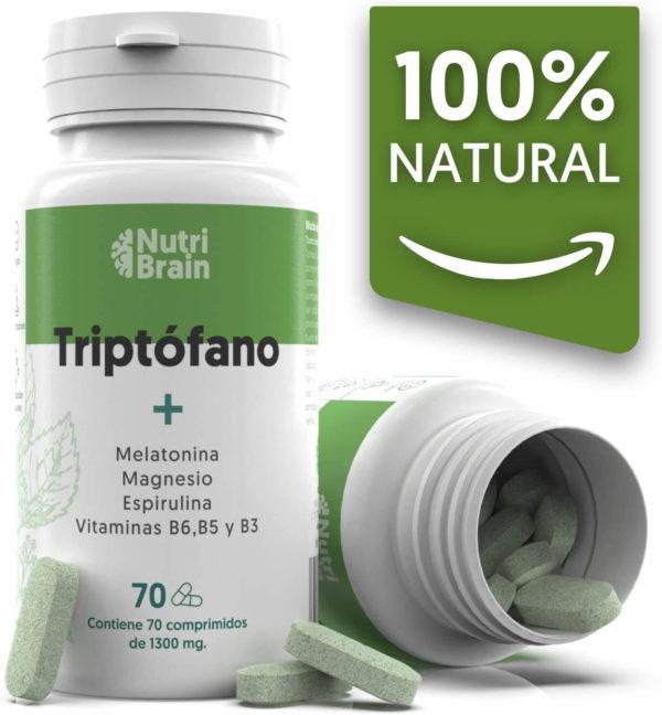 Natural Triptófano con Melatonina y Espirulina 70 Comprimidos Fórmula natural para mejorar el sueño
