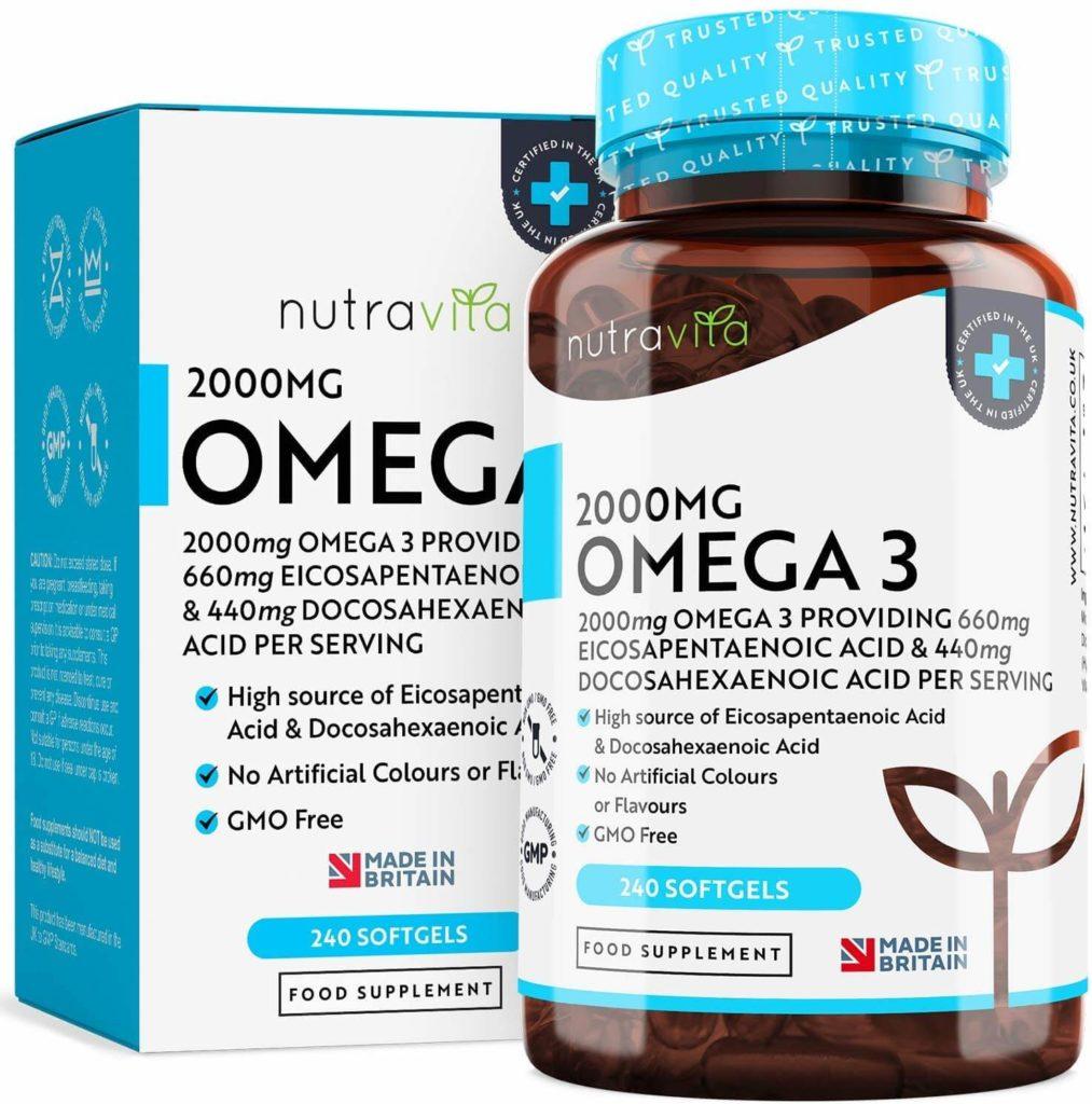 Omega 3 (2000 mg) - 660 mg de EPA y 440 mg de DHA - Omega 3 Capsulas de Gel Suave de Aceite de Pescado Puro