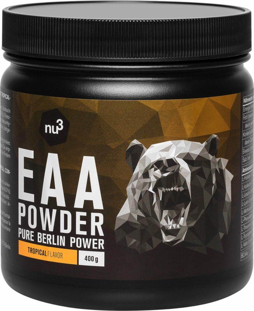 nu3 EAA en polvo – 400g sabor tropical – 8 aminoácidos esenciales – Suplemento deportivo para incrementar fuerza, resistencia y musculación